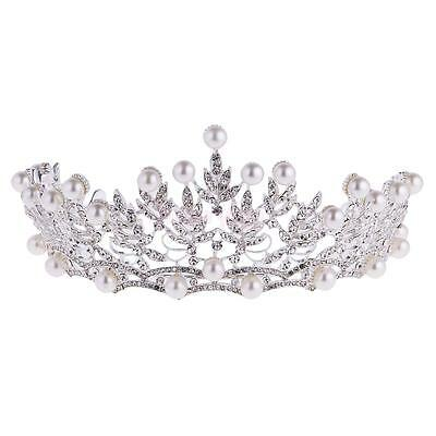 Retro Wedding Birthday Crown Headdress Crystal Pearl Princess Headband Tiara