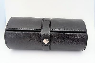 Black Leather Travel Watch and Jewellery Barrel Box
