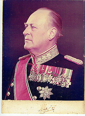 Olav V King Of Norway Orig. Autograph On Photo In Gold Stamped Leather Frame