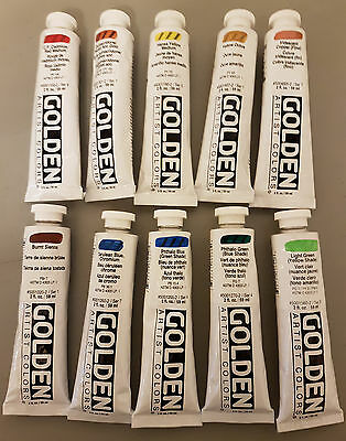Golden Artist Colors Heavy Body Acrylic, Set of 10, (Lot 6)