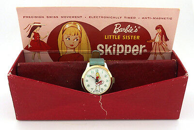 1960's Barbie's Sister SKIPPER Character Watch in Original Box by Bradley