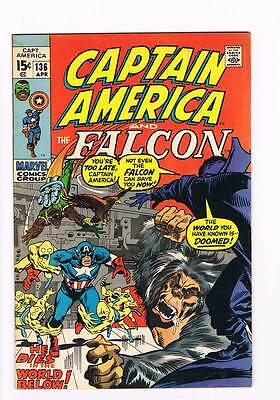 Captain America # 136 The World Below ! grade 7.5 scarce book !!