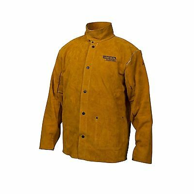 Lincoln Electric Brown X-Large Flame-Resistant Heavy Duty Leather Welding Jac...