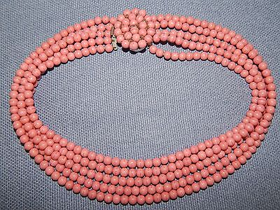 VINTAGE 1950's CORAL PINK GLASS 5 STRAND NECKLACE ~ BEADED CLASP ~ CZECH ~ RETRO