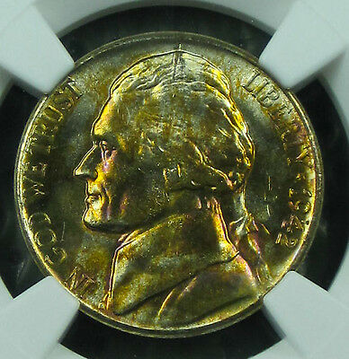 "Toned 1942-S Jefferson MS-64 NGC  ""Silver"""