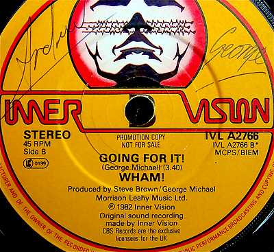 WHAM! Young Guns signed by George Michael, Andrew Ridgeley & Shirley (b side)