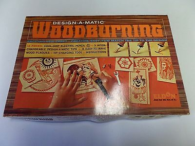 Vintage 1968 ELDON DESIGN-A-MATIC Woodburning Craft Kit w/ Wood Plaques