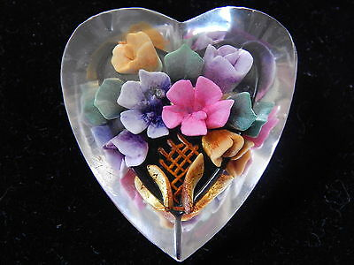 VINTAGE 1940's REVERSE CARVED LUCITE HEART SHAPED FLOWER BROOCH ~ RETRO