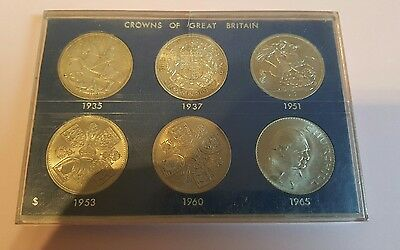 Cased Crowns Of Great Britain 6 Coins Set 1935 To 1965 In Very Fine Or Better