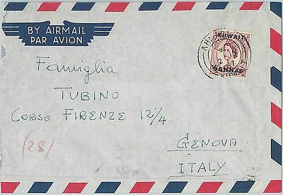 64489 - KUWAIT - POSTAL HISTORY - AIRMAIL COVER to ITALY 1957