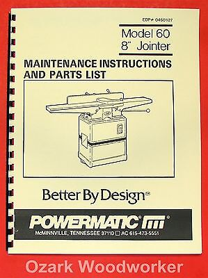 "POWERMATIC 60 8"" Jointer Instruction & Part Manual 0536"