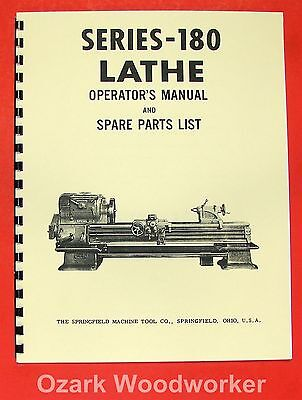 SPRINGFIELD 180 Series Metal Lathe Operator & Parts Manual 0703