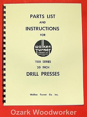 "WALKER TURNER 1100 Series 20"" Drill Press Operator's & Parts Manual 0738"