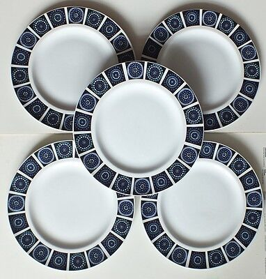 Midwinter Blue Madeira Vintage 1970's 5 Dinner plates.. Excellent Condition