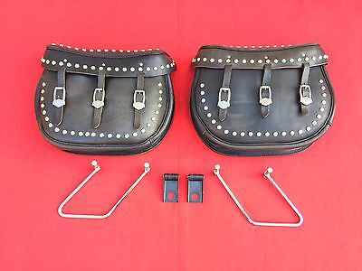 Rare Genuine Harley Softail Saddlebags Wear's Harness & Saddlery Leather Bags