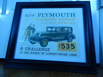 Vintage New Plymouth Floating Power Lithograph Poster Linen Framed Repro. 1931