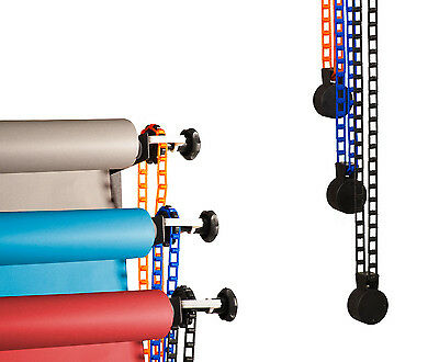 Wall Mounted Bracket Chain Pulley Background Support System for 3 Backdrop Rolls