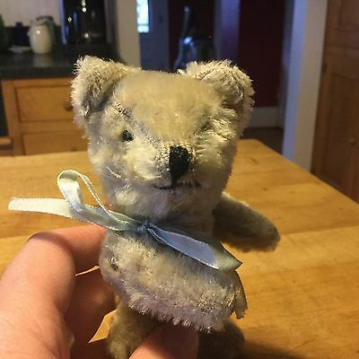 "Antique Vintage German Miniature White Mohair Rod Jointed Teddy Bear 5.5"" Nice!"