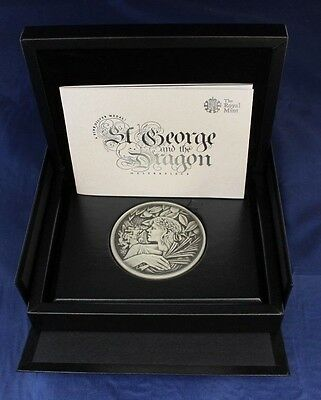 "Royal Mint 250g Silver Medal ""St George & The Dragon"" in Case with COA   (A6/1)"