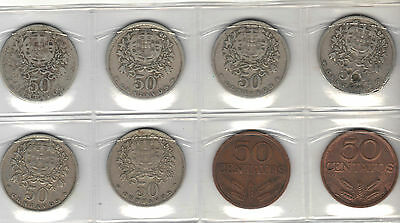 Portugal Lot 0F 8 50 Centavo Coins 1928-78
