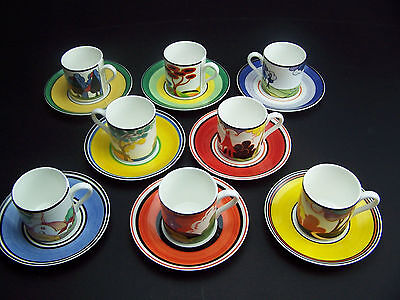 WEDGWOOD CLARICE CLIFF CAFE CHIC CUPS & SAUCERS - 1999 - 16 Pieces -.Mint