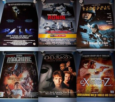 6 VHS VIDEO STORE ORIGINAL MOVIE POSTERS, Relic Starship Troopers Halloween H2O
