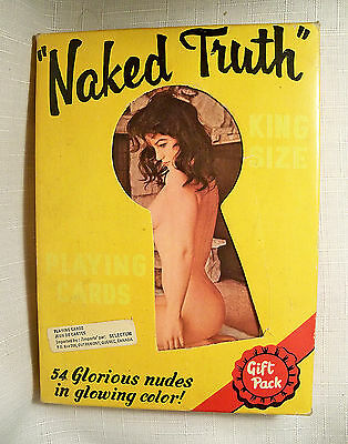 """VINTAGE RISQUE PIN-UP GIRLS NAKED TRUTH PLAYING CARDS LARGE 7"""" X 5"""" CARDS 1970s"""