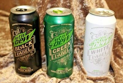 Mountain Dew Label Variety Pack, Black Label, White Label, Green Label,3 pack