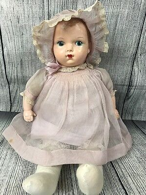 Vintage Antique Amer Char Baby Doll Composition Cloth Old
