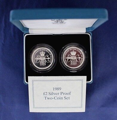 """1989 Silver Proof £2 set """"Bill & Claim"""" in Case with COA   (A6/8)"""