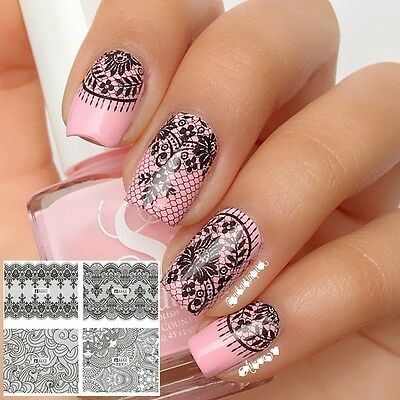 Nail Art Water Decals Stickers Transfers Black Lace Roses Wedding Gel Polish
