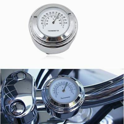 7/8'' 1'' Motorcycle Themometer Dial Clock Handlebar to Harley Waterproof Chrome