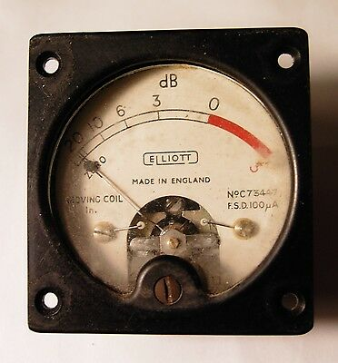 Vintage VU Meter by Elliott, 100uA movement. 1950's