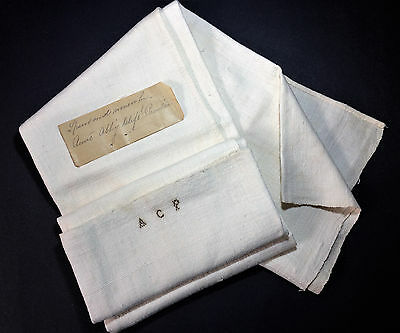 Antique Dated c.1800 Hand Spun & Woven Cloth Towel With Stitched Initials ACP