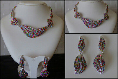 Diamante Multi Color Necklace Earrings Jewelry Set With Swarovski Crystal