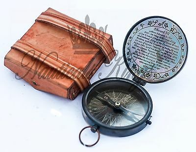 "Poem Edward King Brass Vintage Compass Antique Flat 3"" With Leather Case"
