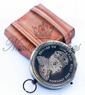 Robert Frost Poem Engraved Brass Compass With Embossed Needle with Leather Case