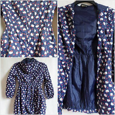 Hello Kitty ALL OVER kitty RAIN COAT JACKET GIRLS SIZE 8-9 YEARS Blue STYLISH