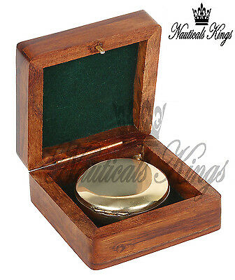 Stanley London Collectible Solid Brass Push Button Compass Pocket Compass Gift