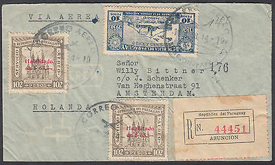 1938 Paraguay Multi-Franking Ascuncion Registered Airmail: Amsterdam,Netherlands