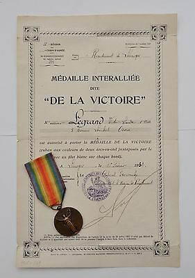 "France:ww1 French Victory Medal,14-18 Official Type By ""morlon"" With Certificate"