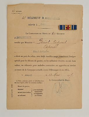 France: Ww1 French Medal Wounded In Combat Badge And Certificate