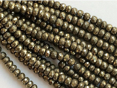 """14"""" Strand, Wholesale Pyrite Beads, Faceted Pyrite Rondelles, Pyrite Necklace"""
