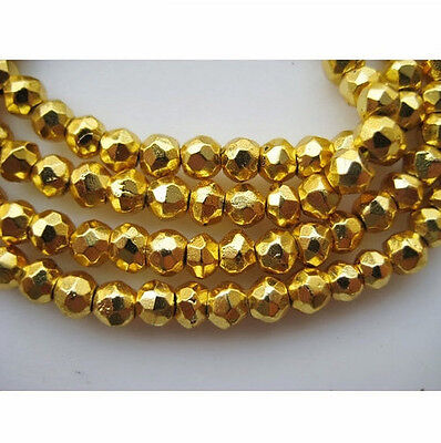 """14"""" Strand Gold Pyrite Gem Stone, Coated Rondelle Beads, Micro Faceted Pyrite"""
