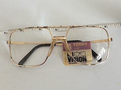 OLD RETRO VINTAGE 70s LARGE FRAME READING Gold GLASSES Spectacles BNIP 2.50 Strh