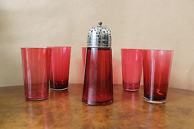 Antique Cranberry Glass Set of 5 Beakers and, epns  Cranberry Glass Sugar Shaker