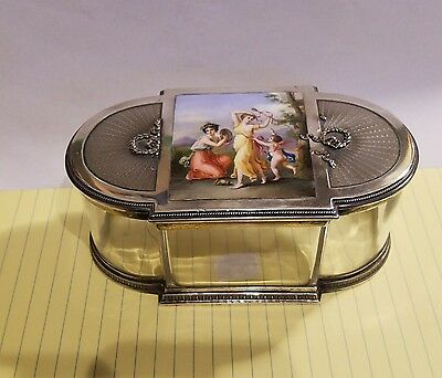 Silver and Crystal Box with Miniature Painting on Porcelain GEORG ADAM SCHEID