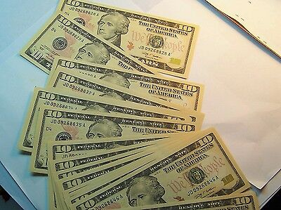 Stunning beautiful 20 consecutive 2009 U.S 10 dollars d4  banknote  very crispy