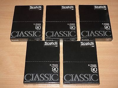 5 x SCOTCH CLASSIC 8-TRACK CARTRIDGE TAPE 8-SPUR LEER KASSETTE 90 MIN OVP SEALED