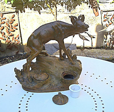 Vintage / Antique Painted Cast Metal Double Inkwell / Stand - Deer / Hunting...